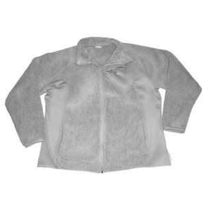 Columbia Gray Teddy Fleece Zip Up Sweater Sherpa